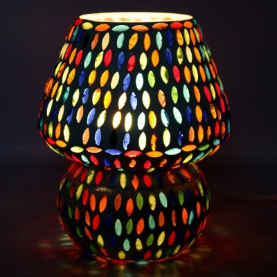 EarthenMetal Handcrafted White Glass Table Lamp(16 cm, White, Multicolor) at flipkart