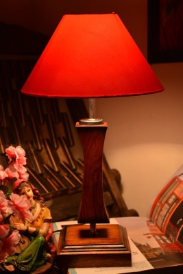 Yashasvi Yashasvi Wooden Table Lamp With Red Shade Table Lamp(45 cm, Red) at flipkart