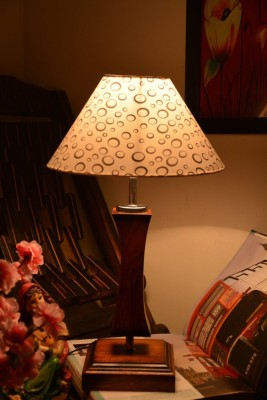 Yashasvi Yashasvi Grooves Wooden Table Lamp Table Lamp(45 cm, Multicolor) at flipkart