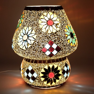 EarthenMetal Handcrafted Crystal Decorated Floral Design Dome Shaped Glass Table Lamp(24 cm, White, Multicolor) at flipkart