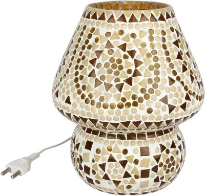 EarthenMetal Handcrafted Almond Brown Coloured Crystal Dome Shaped Glass Table Lamp(24 cm, Brown, White) at flipkart