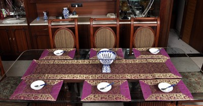 Lal Haveli Purple Silk Table Linen Set(Pack of 7) at flipkart