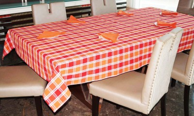 Lushomes Red Organic Cotton Table Linen Set Pack of 7