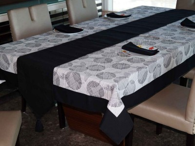 Lushomes Black Organic Cotton Table Linen Set(Pack of 8) at flipkart
