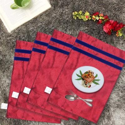 Zikrak Exim Rectangular Pack of 4 Table Placemat(Peach, Blue, Polyester) at flipkart