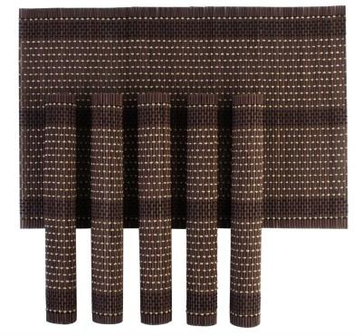 HOKIPO Rectangular Pack of 6 Table Placemat(Brown, Natural Bamboo) at flipkart