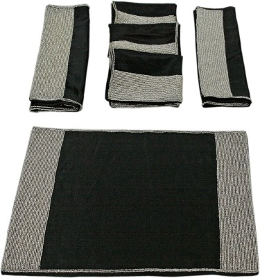 Sriam Rectangular Pack of 4 Table Placemat(Black, Cotton) at flipkart