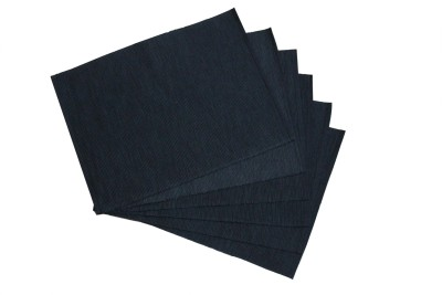 Home Colors Rectangular Pack of 6 Table Placemat(Black, Cotton) at flipkart