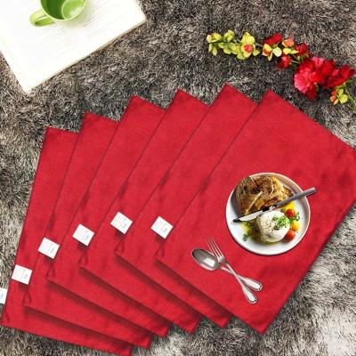 Zikrak Exim Rectangular Pack of 6 Table Placemat(Maroon, Polyester) at flipkart