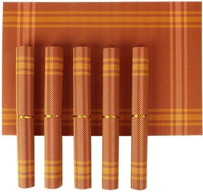 HOKIPO Rectangular Pack of 6 Table Placemat(Orange, PVC (Polyvinyl Chloride)) at flipkart