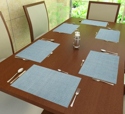 Home Candy Rectangular Pack of 6 Table Placemat(Blue, Polyester) at flipkart