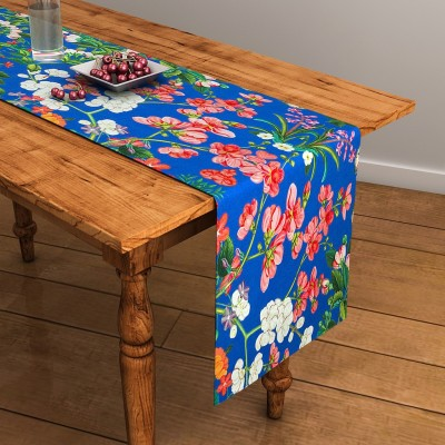 SEJ by Nisha Gupta Blue 120 cm Table Runner(Cotton) at flipkart