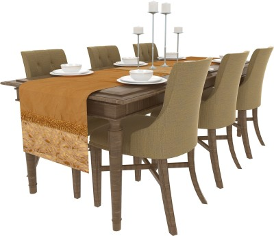 Art Horizons Gold 208 cm Table Runner(Silk) at flipkart