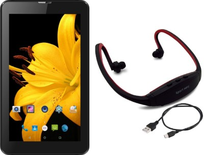 I Kall IK1 3G+Wi-Fi calling tablet with Mp3/FM Player Neckband 4 GB 7 inch with Wi-Fi+3G Tablet (Black)