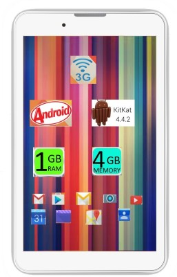 I Kall IK1 (1+4GB) Dual Sim 3G Calling Tablet -White 4 GB 7 inch with Wi-Fi+3G(White)
