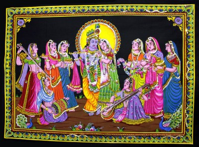 Amazing India Lord Krishna & Radha Gopi Sequin Cotton Wall Hanging Aisbl007 God & Goddess Tapestry(Multicolor)  available at flipkart for Rs.340