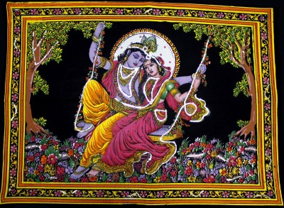 Amazing India Lord Krishna & Radha Sequin Cotton Wall Hanging Aisbm006 God & Goddess Tapestry(Multicolor)  available at flipkart for Rs.345