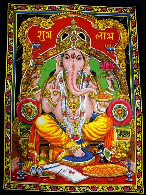 Amazing India Lord Ganesha / Ganpati / Ganesh Sequin Cotton Wall Hanging AISBM009 God Tapestry(Multicolor)  available at flipkart for Rs.799