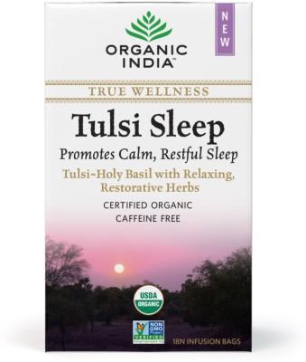 Organic India Sleep Tea 18 Tea Bags Tulsi Herbal Infusion(18 Sachets, Box)  available at flipkart for Rs.145
