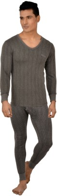 Lux Inferno Charcoal Melange Full Sleeves V- Neck Men Top - Pyjama Set Thermal