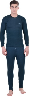Lux Cottswool Blue Full Sleeves Round Neck Men's Top - Pyjama Set