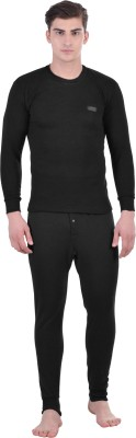 Lux Cottswool Black Full Sleeves Round Neck Men Top - Pyjama Set Thermal