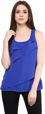 MAYRA Party Sleeveless Solid Women Blue Top MAYRA Women's Tops