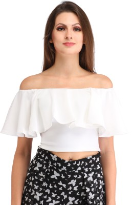 Cation Party Cap Sleeve Solid Women White Top