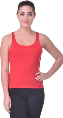 Trend18 Casual Sleeveless Solid Women Red Top
