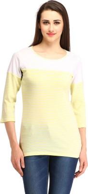 Cottinfab Casual Regular Sleeve Striped Women Yellow Top at flipkart