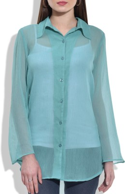 Eves Pret A Porter Casual Bell Sleeve Solid Women Blue Top