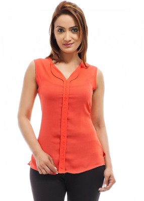Femninora Casual Sleeveless Solid Women Red Top