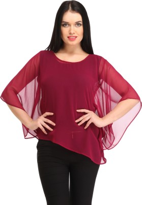 Cottinfab Casual Short Sleeve Solid Women Maroon Top