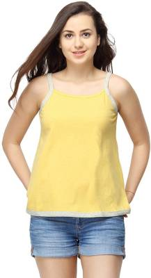 Campus Sutra Casual Sleeveless Solid Women's Yellow Top