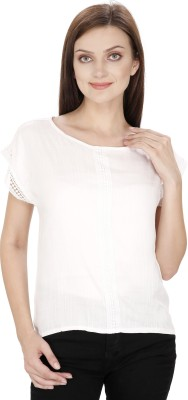 Svt Ada Collections Casual Bell Sleeve Solid Women White Top