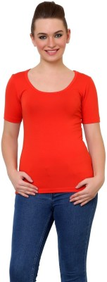 Finesse Casual Short Sleeve Solid Women Red Top at flipkart
