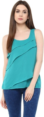 Mayra Party Sleeveless Solid Women Green Top