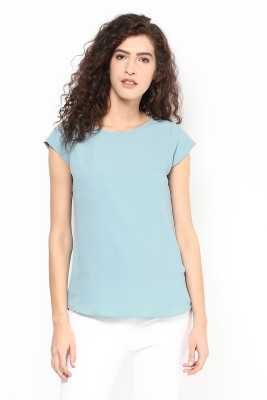 Martini Casual Short Sleeve Solid Women Blue Top