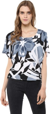 Harpa Casual Short Sleeve Floral Print Women Grey Top