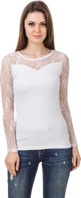 Le Bourgeois Casual Full Sleeve Solid Women White Top