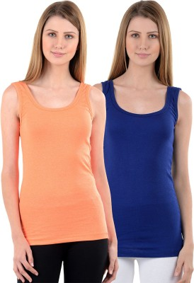 NumBrave Casual Sleeveless Solid Women's Orange, Blue Top