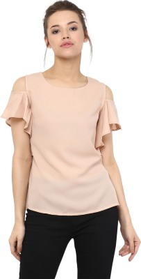 Miss Chase Casual Flared Sleeve Solid Women Beige Top