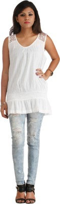 Heritage Tycoon Casual Sleeveless Striped Women's White Top