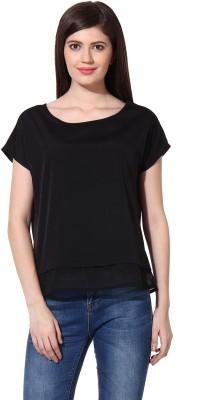 Oxolloxo Casual Short Sleeve Solid Women Black Top at flipkart