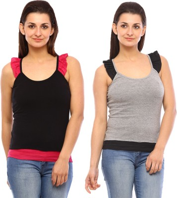 Vvoguish Casual Sleeveless Solid Women's Black, Grey Top
