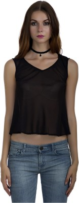 Marzeni Casual Sleeveless Solid Women Black Top Marzeni Women's Tops