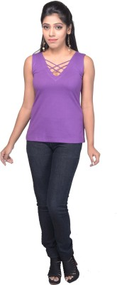 Ssmitn Casual No Sleeve Solid Women Purple Top at flipkart