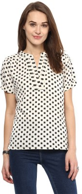 Harpa Casual Short Sleeve Printed Women's White Top