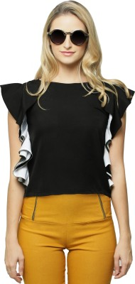 Miss Chase Party Sleeveless Solid Women Black Top Miss Chase Women's Tops