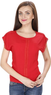 Svt Ada Collections Casual Cap Sleeve Solid Women Red Top